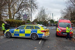 © Licensed to London News Pictures. 07/12/2019. London, UK. A Police vehicle alongside a fire investigation van form a cordon at the scene of a fatal road traffic collision, a black BMW hit a lamp post in the crash, the impact ripped the engine block from the car and it caught fire.<br /> Police were called at 09:08 GMT on Saturday 7th December 2019 to reports of a car in collision with a lamp post on Dollis Hill Lane at the junction with Brook Road, NW2. Metropolitan Police Officers, the London Ambulance Service and London Fire Brigade attended. Two people were recovered from the vehicle. The male driver was pronounced dead at the scene at 09:21 GMT. The passenger has been taken to a central London hospital. Photo credit: Peter Manning/LNP