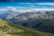 Scenic overlook off Trail Ridge Road in the Rocky Mountain National Park in Estes Park, Colorado.