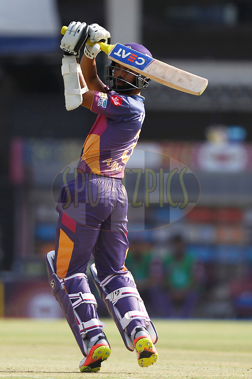 Ajinkya Rahane of Rising Pune Supergiant bats during match 4 of the Vivo 2017 Indian Premier League between the Kings X1 Punjab and the rising Pune Supergiant held at the Holkar Cricket Stadium in Indore, India on the 8th April 2017<br /> <br /> Photo by Deepak Malik - IPL - Sportzpics