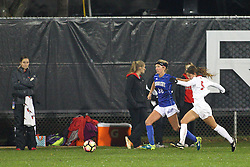 04 November 2016: Mikayla Unger(5) & Brice Bement(26)  during an NCAA Missouri Valley Conference (MVC) Championship series women's semi-final soccer game between the Indiana State Sycamores and the Illinois State Redbirds on Adelaide Street Field in Normal IL