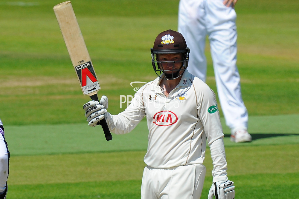 50 for Batty - Surrey's Gareth Batty celebrates scoring his half century during the Specsavers County Champ Div 1 match between Hampshire County Cricket Club and Surrey County Cricket Club at the Ageas Bowl, Southampton, United Kingdom on 18 July 2016. Photo by Graham Hunt.