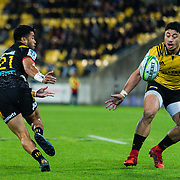 Jonathan Taumateine and Ben Lam during the super rugby union game between Hurricanes and Chiefs, played at Westpac Stadium, Wellington, New Zealand on 13 April 2018. Hurricanes won 25-13.