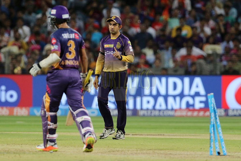 Kolkata Knight Riders captain Gautam Gambhir reacts after the wicket of Ajinkya Rahane of Rising Pune Supergiant during match 30 of the Vivo 2017 Indian Premier League between the Rising Pune Supergiants and the Kolkata Knight Riders  held at the MCA Pune International Cricket Stadium in Pune, India on the 26th April 2017<br /> <br /> Photo by Vipin Pawar- IPL - Sportzpics