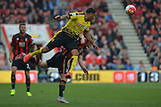 Watford FC captain, striker Troy Deener wins the header during the Barclays Premier League match between Bournemouth and Watford at the Goldsands Stadium, Bournemouth, England on 3 October 2015. Photo by Mark Davies.
