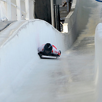 27 February 2007:  Amy Gough of Canada hits the wall in the Chicane in the 3rd run at the Women's Skeleton World Championships competition on February 27 at the Olympic Sports Complex in Lake Placid, NY.