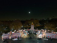 The Christmas Market on Columbus Circle at the entrance to Central Park