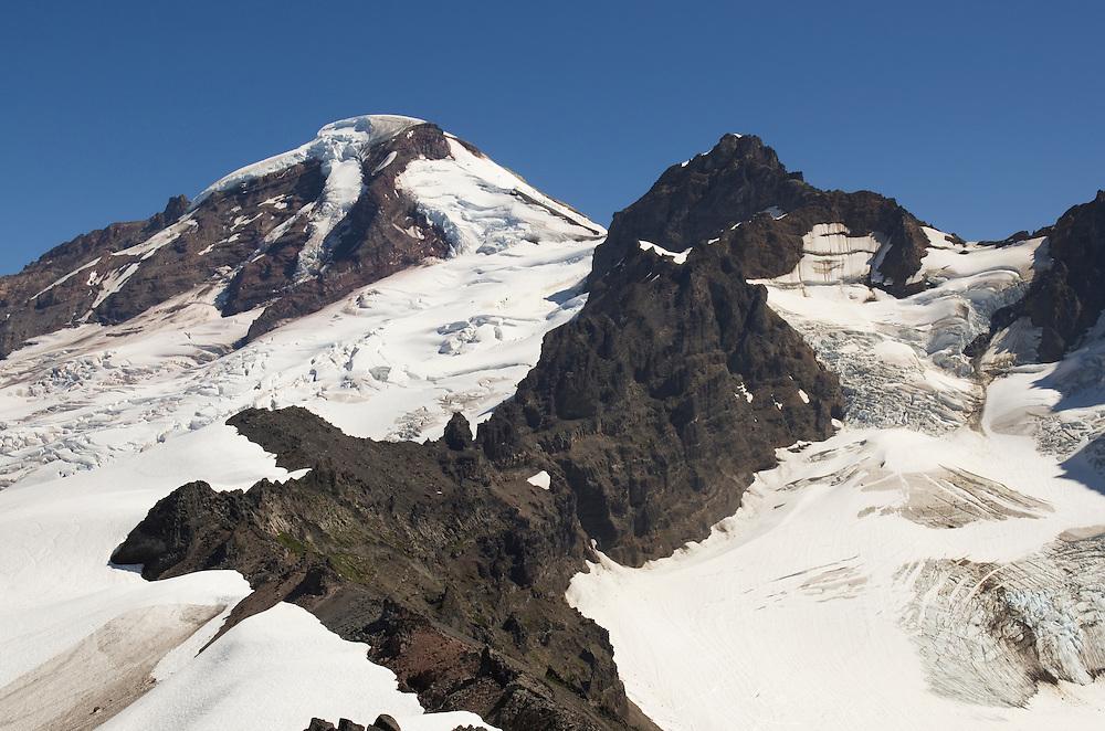 Mount Baker (elevation 10,778 feet, 3,285 m) northernmost volcano in the Cascade Range, seen from Heliotrope Ridge, Mount Baker Wilderness Washington