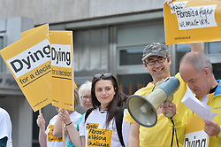 Sufferers and their families, led by the Cystic Fibrosis Trust, demonstrated at the Scottish Parliament in Edinburgh to lobby the Scottish Government to allow hundreds of sufferers to receive the life-saving drug Orkambi.<br /> <br /> &copy; Dave Johnston/ EEm