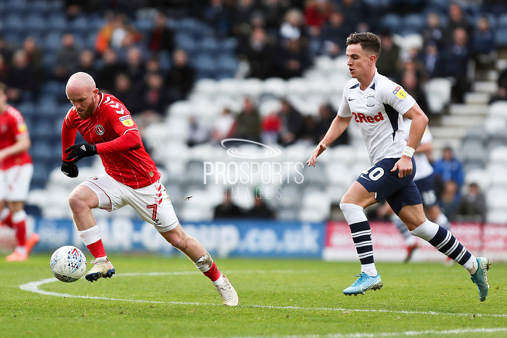 Charlton Athletic midfielder Jonathan Williams (7) in action during the EFL Sky Bet Championship match between Preston North End and Charlton Athletic at Deepdale, Preston, England on 18 January 2020.