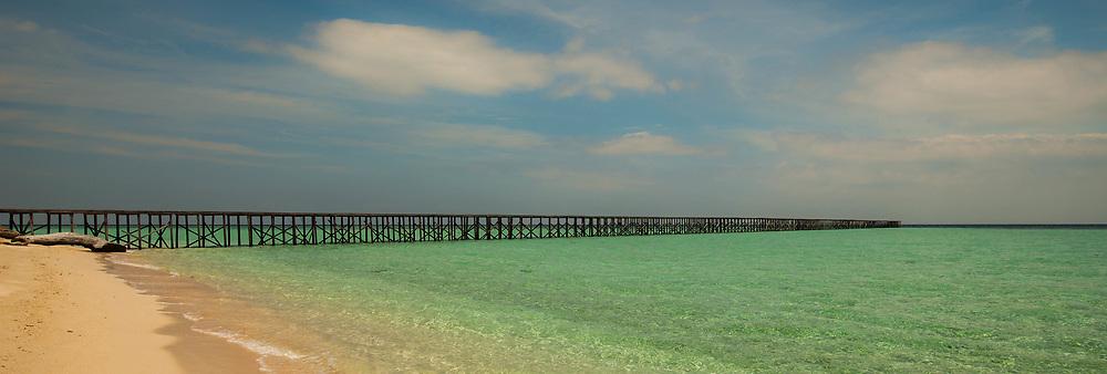 Long Pier and Ocean, Indonesia Kalimantan Borneo Sangalaki Island
