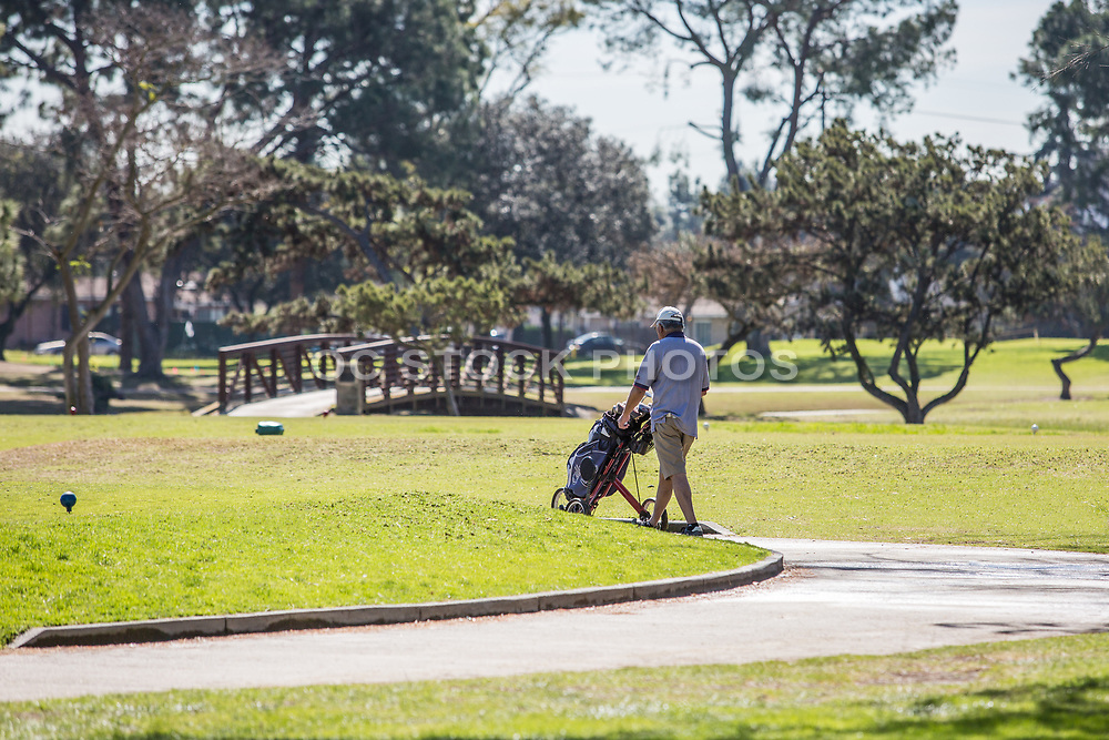 Male Golfer at Los Amigos Golf Course Downey California