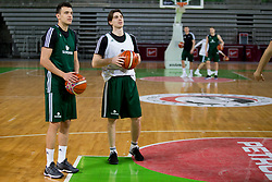 Zan Mark Sisko and Luka Voncina during practice session of Slovenian National Basketball team before qualification matches for FIBA Basketball World Cup 2019, on February 20, 2017 in Arena Stozice, Ljubljana, Slovenia. Photo by Urban Urbanc / Sportida