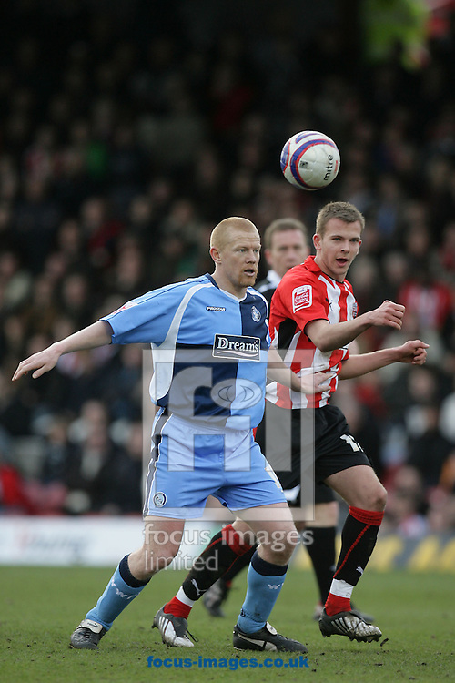 London - Saturday, March 14th, 2009: Jordan Rhodes (R) of Brentford and Will Antwi of Wycombe Wanderers during the Coca Cola League Two match at Griffin Park, London. (Pic by Mark Chapman/Focus Images)