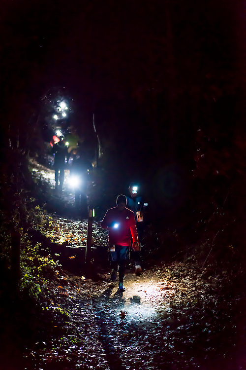 The 50th JFK 50 Mile Ultramarathon held on November 23. 2013. This ultramarathon starts in Boonsboro, MD and finishes in Williamsport, MD traversing the Appalachian Trail and C & O Canal. 5 a.m. starters on the AT approaching the Reno Monument aid station.