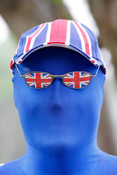 © licensed to London News Pictures. Tamworth/Staffordshire, UK  07/05/2011. Morphsuit challenge to break the Guiness World Record at Drayton Manor Park, Tamworth, Staffs. Pictured, a true Blue Brit Morph. Please see special instructions for usage rates. Photo credit should read Dave Warren/LNP