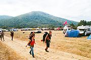 Group walking through fields, BulgariaTek, Bulgaria, August 2012