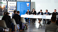 """Warsaw, Poland - 2017 April 19: Malgorzata Lowkis - Przybyniak - Deputy President of Blind Tennis Poland speaks while press conference during official visit of International Tennis Federation (ITF) at """"Orzel"""" Tennis Club  on April 19, 2017 in Warsaw, Poland.<br /> <br /> Mandatory credit:<br /> Photo by © Adam Nurkiewicz / Mediasport<br /> <br /> Adam Nurkiewicz declares that he has no rights to the image of people at the photographs of his authorship.<br /> <br /> Picture also available in RAW (NEF) or TIFF format on special request.<br /> <br /> Any editorial, commercial or promotional use requires written permission from the author of image."""