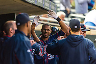Aaron Hicks #32 of the Minnesota Twins celebrate after hitting a home run against the Chicago White Sox on May 13, 2013 at Target Field in Minneapolis, Minnesota.  The Twins defeated the White Sox 10 to 3.  Photo: Ben Krause