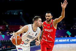Stefan Jovic of Serbia vs Adam Hanga of Hungary during basketball match between National Teams of Serbia and Hungary at Day 11 in Round of 16 of the FIBA EuroBasket 2017 at Sinan Erdem Dome in Istanbul, Turkey on September 10, 2017. Photo by Vid Ponikvar / Sportida