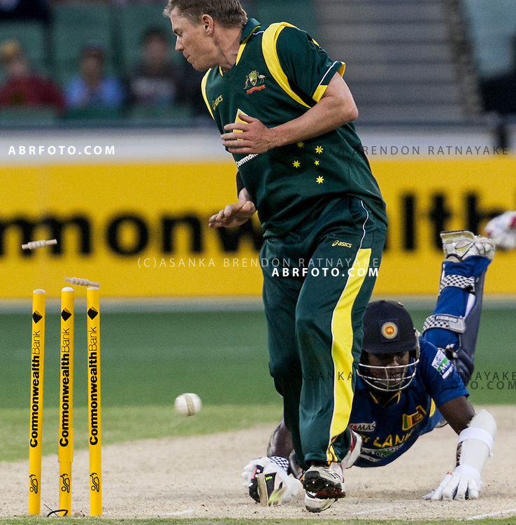 Angelo Matthews dives into his crease as the ball hits teh wickets in an attempted run out during game 1 of the Commonwealth Bank Series Australia v Sri Lanka played at the Melbourne Cricket Ground in Melbourne,Victoria, Australia. Photo Asanka Brendon Ratnayake