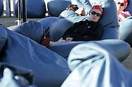 VILLIERSDORP, SOUTH AFRICA - A crew members chills in the Chill Out Zone during stage two of the Absa Cape Epic Mountain Bike Stage Race held between Gordon's Bay and Villiersdorp on the 23 March 2009 in the Western Cape, South Africa..Photo by Ron Gaunt /SPORTZPICS