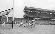 GAA All Ireland Minor Football final Cork V. Offaly 27th September 1964 at Croke Park..A point for Cork with Offaly goalie M. Furlong watching up at the ball ..27.9.1964  27th September 1964