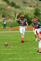 KELOWNA, BC - OCTOBER 6: Isaac Wegner #7 of Okanagan Sun readies to kick the ball against the VI Raiders at the Apple Bowl on October 6, 2019 in Kelowna, Canada. (Photo by Marissa Baecker/Shoot the Breeze)