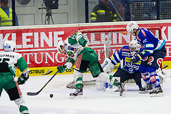 20.11.2012, Eishalle Villach, Ljubljana, AUT, EBEL, EC VSV vs HDD Telemach Olimpija Ljubljana, 23. Runde, in picture Kevin De Vergilio (HDD Telemach Olimpija, #51) vs Jean Philippe Lamoureux (EC VSV, #1) during the Erste Bank Icehockey League 23rd Round match between EC VSV and HDD Telemach Olimpija Ljubljana at the Eishalle Villach, Villach, Austria on 2012/11/20. (Photo By Matic Klansek Velej / Sportida)
