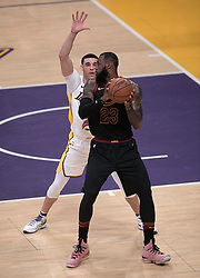 March 11, 2018 - Los Angeles, California, U.S - LeBron James #23 of the Cleveland Cavaliers looks to drive against Lonzo Ball #2 of the Los Angeles Lakers during their NBA game on Sunday March 11, 2018 at the Staples Center in Los Angeles, California. Lakers defeat Cavaliers, 127-113. (Credit Image: © Prensa Internacional via ZUMA Wire)
