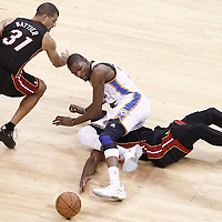 14 June 2012: Miami Heat shooting guard Dwyane Wade (3) vies for the loose ball with Oklahoma City Thunder small forward Kevin Durant (35) during the Miami Heat 100-96 victory over the Oklahoma City Thunder, in Game 2 of the 2012 NBA Finals, at the Chesapeake Energy Arena, Oklahoma City, Oklahoma, USA.