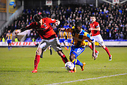 Sullay Kaikai of Shrewsbury Town (on loan from Crystal Palace) battles with Romain Vincelot of Coventry City FC during the Sky Bet League 1 match between Shrewsbury Town and Coventry City at Greenhous Meadow, Shrewsbury, England on 8 March 2016. Photo by Mike Sheridan.