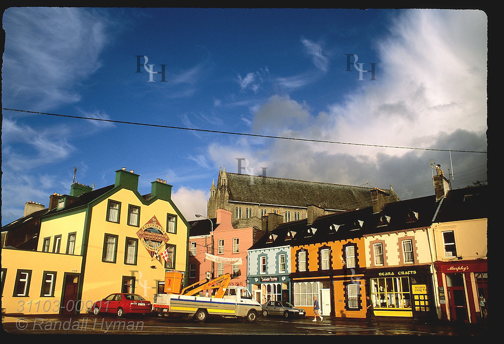 Center of Castletownbere, main town on the Beara Peninsula, bathes in early morning light in September; Ireland.