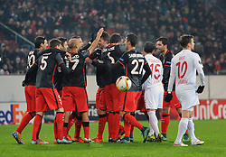 26.11.2015, WWK Arena, Augsburg, GER, UEFA EL, FC Augsburg vs Athletic Bilbao, Gruppe L, im Bild Jubel bei Athletic Bilbao zum 0:1 u.a. mit v.l. Aritz Aduriz #20 (Athletic Bilbao), Javier Eraso #5 (Athletic Bilbao), Mikel Rico #17 (Athletic Bilbao), Torschuetze Markel Susaeta #14 (Athletic Bilbao), Mikel San Jose #6 (Athletic Bilbao), Sabin Merino #27 (Athletic Bilbao), Piotr Trochowski #15 (FC Augsburg) und Daniel Baier #10 (FC Augsburg) // during UEFA Europa League group L match between FC Augsburg and Athletic Bilbao at the WWK Arena in Augsburg, Germany on 2015/11/26. EXPA Pictures © 2015, PhotoCredit: EXPA/ Eibner-Pressefoto/ Hiermayer<br /> <br /> *****ATTENTION - OUT of GER*****