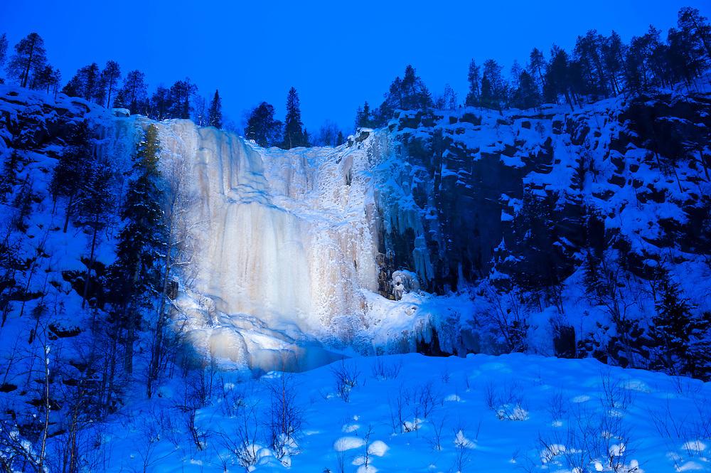 Frozen waterfall in Korouoma gorge, Posio, Finland