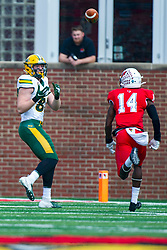 NORMAL, IL - October 05: Noah Gindorff looks up at the incoming pass with coverage by Luther Kirk a little off during a college football game between the ISU (Illinois State University) Redbirds and the North Dakota State Bison on October 05 2019 at Hancock Stadium in Normal, IL. (Photo by Alan Look)