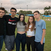 TUESDAY, FEBRUARY 27- 2018---PARKLAND, FLORIDA--<br /> Students turned anti gun activists  from Marjory Stoneman Douglas High School, from left; John Barniff, 17, 11th grade, Diego Pfeiffer, 18, 12th grade, Kirsten McConell, 17, 11th grade, Sarah Chadwick, 16, 11th grade and Adam Alhanti, 17, 11th grade.<br /> (Photo by Angel Valentin/FREELANCE)