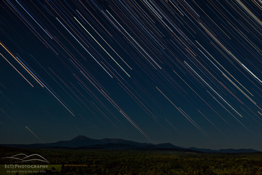 Star trails over Mount Katahdin as seen from Patten, Maine.