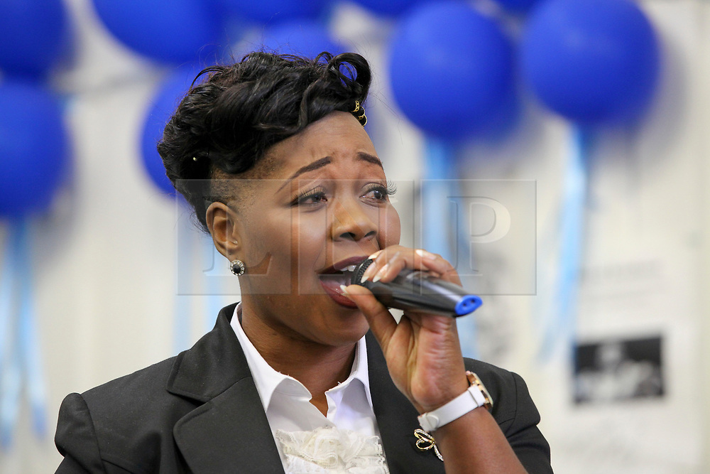 © London News Pictures. 27/06/2017. London, UK. Pastor Lorraine Jones speaks at the launch. The Mayor of London, Sadiq Khan and the Met Police Commissioner, Cressida Dick, launches a knife crime strategy at Dwaynamics Boxing Club, which will tackle the deeply concerning rise in knife crime across the capital, especially among young Londoners. Photo credit: Dinendra Haria/LNP