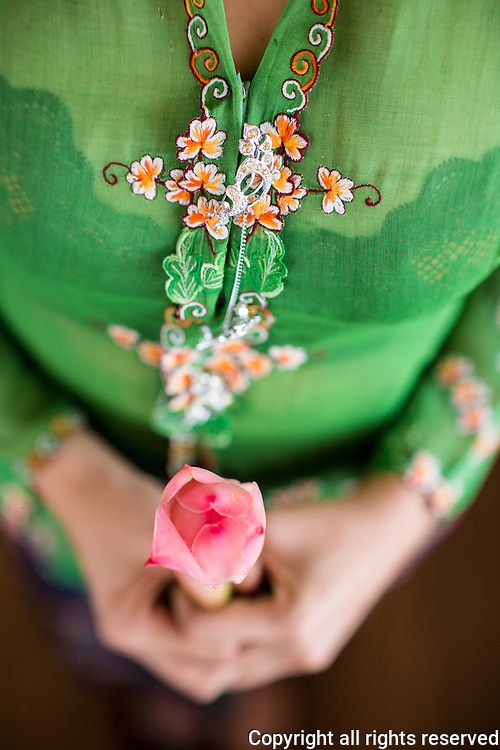 kebaya (traditional nonya dress) and torch ginger flower (used in asam laksa), george town, malaysia