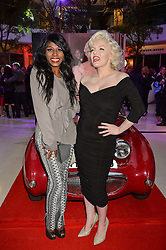 Left to right, SINITTA and Marilyn Monroe lookalike SUZI KENNEDY at a private view of Marilyn - The Legacy of a Legend held at the Design Centre, Chelsea Harbour, London on 25th May 2016.