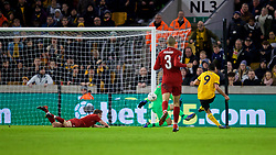 WOLVERHAMPTON, ENGLAND - Monday, January 7, 2019: Wolverhampton Wanderers' Raúl Jiménez scores the first goal during the FA Cup 3rd Round match between Wolverhampton Wanderers FC and Liverpool FC at Molineux Stadium. (Pic by David Rawcliffe/Propaganda)
