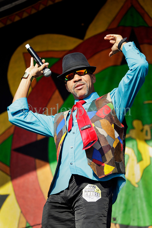 30 April 2015. New Orleans, Louisiana.<br /> The New Orleans Jazz and Heritage Festival. <br /> Norris Webb of legendary Reggae band Third World plays the Congo Square stage.<br /> Photo; Charlie Varley/varleypix.com
