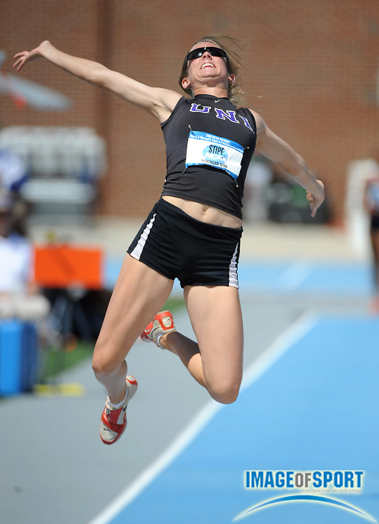 Jun 14, 2008; Des Moines, IA; Dani Stipe of Northern Iowa jumped a wind-aided 19-9 (6.02m) in the heptathlon long jump for 856 points in the NCAA Track & Field Championships at Drake Stadium. Stipe was 18th with 5,368 pointsl