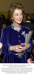 Actress MAUREEN LIPMAN at a party in London on 20th March 2002.OYN 62
