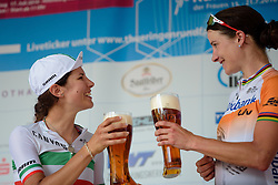 A toast between the top two: Marianne Vos and Elena Cecchini at Thüringen Rundfarht 2016 - Stage 5 a 99km road race starting and finishing in Greiz, Germany on 19th July 2016.