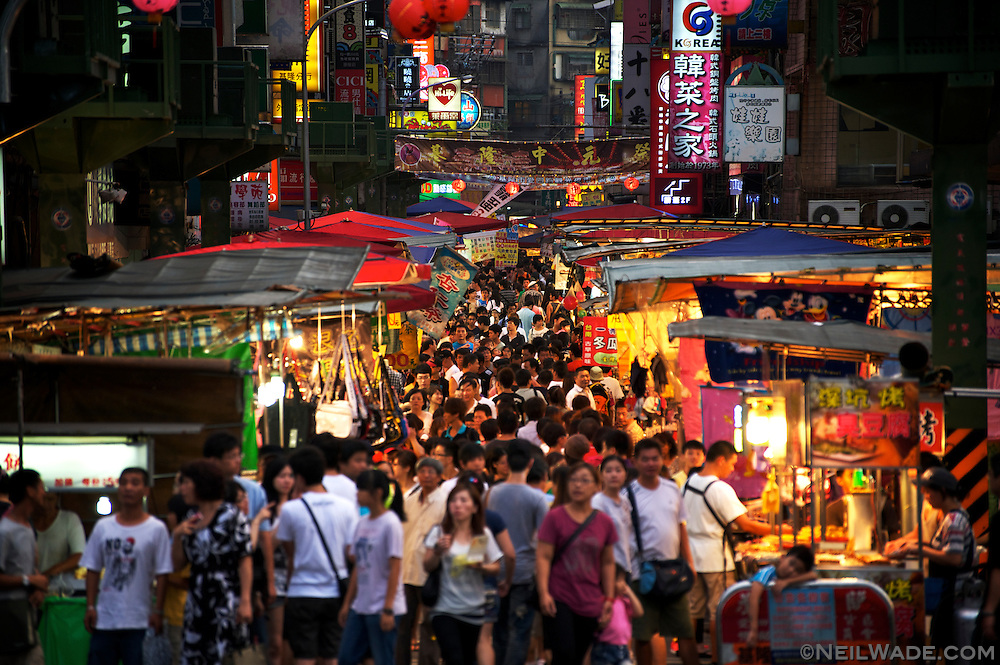 The Miakou Night Market in Keelung is always busy on weekends, but was absolutely heaving on the day of the Ghost Festival Parade.