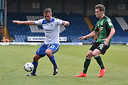 Bury Forward, Tom Pope (11) and Scunthorpe United Defender, Harry Toffolo (15) during the EFL Sky Bet League 1 match between Bury and Scunthorpe United at the JD Stadium, Bury, England on 1 October 2016. Photo by Mark Pollitt.