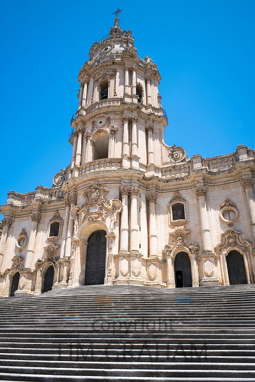 Front elevation and steps of Baroque style Cathedral of San Giorgio in Modica Alta ancient city, South East Sicily