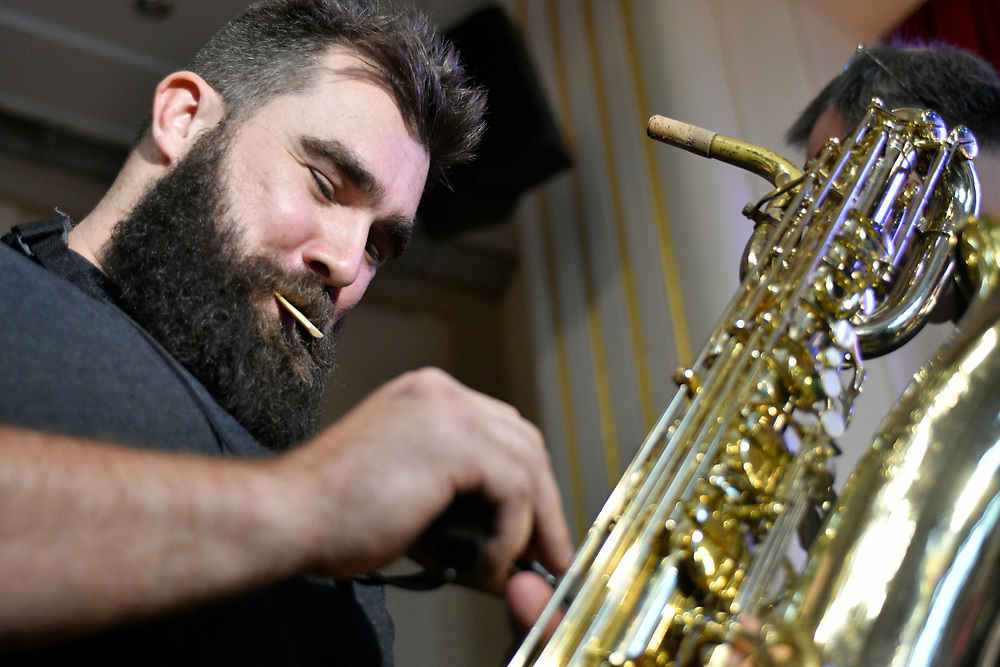 Philadelphia Eagles Center Jason Kelce and Cleveland Heights High School alumni and former jazz band member prepares the baritone sax he used to play, 12 years ago at his Alma Mater in Cleveland.