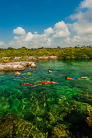 Snorkeling, The Caleta Yaku lagoon, near Riviera Maya, Mexico.